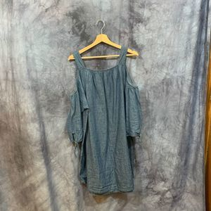 Madewell Off The Shoulder Chambray Shift Dress L
